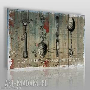 obrazy obraz na płótnie - sztućce deski 120x80 cm 46801, sztućce, łyżki, widelec