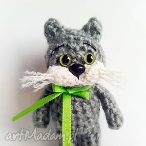 Kotek z zielonymi oczami - ,kotek,maskotki,kot,szydełko,przytulanki,zabawki,