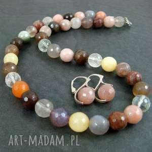 jesienny komplet, kwarc, kamień, słoneczny biżuteria