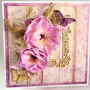 w kolorze purpury, kartka, życzenia, scrapbooking