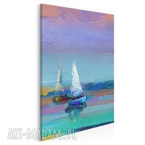 obraz na płótnie - kolorowy żaglówki mazury jezioro w pionie 50x70 cm