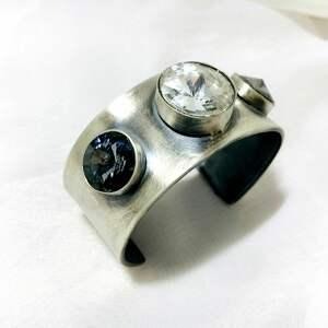 satynowana bransoletka z cyrkoniami swarovskiego srebro 925 handmade