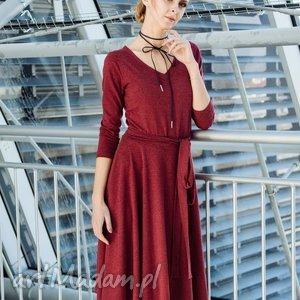 ręcznie robione sukienki v-neck sukienka z dzianiny