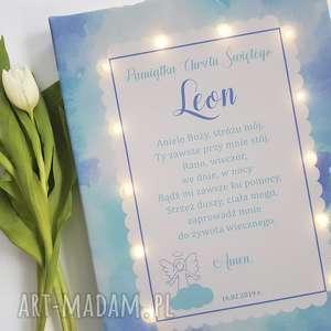 pamiĄtka chrztu świecący obraz led modlitwa aniołek lampka pamiątka prezent