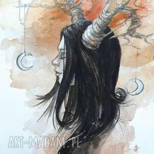 biały kruk akwarela artystki adriany laube - portret, dziewczyna, kruk, księżyc
