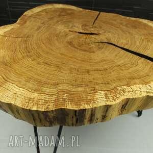 Stolik kawowy, plaster drewna dąb żywica stoły sciete i pociete