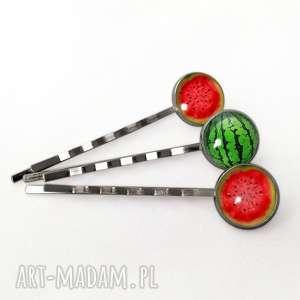 arbuz - 3 wsuwki do włosów, arbuz, melon, owocowe, wsuwki, spinki, prezent