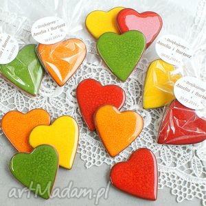 Serca - magnesy w podziękowaniu, kolorowe, wesołe, podziękowania, kwiatowe, wesele