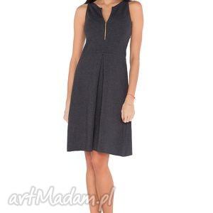 Sukienka T_1 ciemnoszary, sukienka, elegancka, wygodna, kontrafłda, zamek