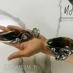 komplet bransoleta i wisior srebro z bursztynem bałtyckim rękodzieło unikat