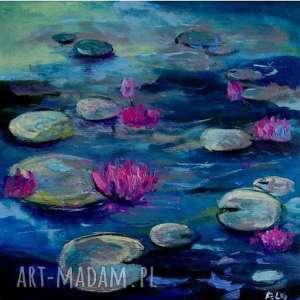 Obraz na płótnie - Nenufary format 30/30 cm, nenufary, róż, natura, zieleń, niebieski