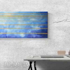 niebo ze złotem - obraz olejny w formacie 30/60 cm, abstrakcja, złote elementy