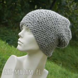 aga made by hand tweed szary - na prawo zimowa czapa, ciepła, zimowa, tweedowa