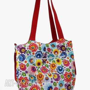 handmade torba shopper z mocowanim do wózka łowicz