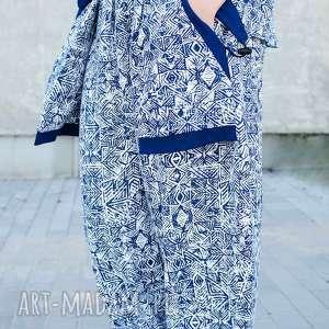 ręcznie robione spodnie bawełniane z nadrukiem