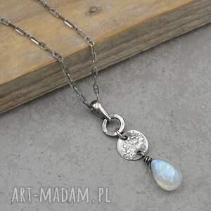 naszyjniki kamień księżycowy surowa srebrna zawieszka na łańcuszku 167
