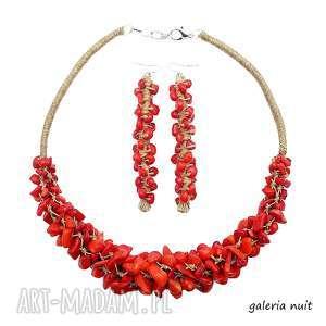Koral czerwony - komplet biżuterii, koral, minerały, komplet, naturalne, len, lniany