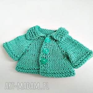 Pluszowy pan miś w turkusowym rozpinanym sweterku - HandMade
