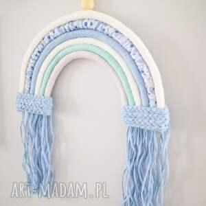 dekoracje makrama ścienna tęcza ze sznurka niebieska, makrama