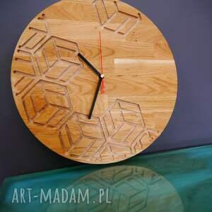 handmade zegary zegar ścienny z drewna dębowego, frez, wzór nr