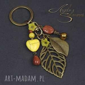 breloki angelo brelok do kluczy, torebki liście, brelok, zawieszka, serce, howlit