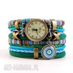 zegarki zegarek-bransoletka w stylu boho, niebiesko-zielony z zawieszką, zegarek