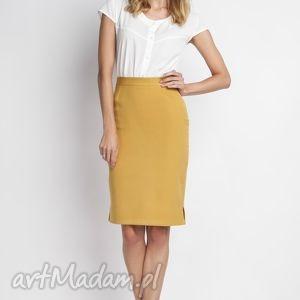 klasyczna spódnica, sp112 musztarda, elegancka, ołówkowa, kobieca, obcisła