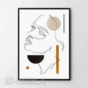 plakat obraz one line 50x70 cm b2, kobieta, kominek, linie