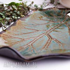 ceramika patera ceramiczna liść ceramiczny z sercem, ceramika, patera