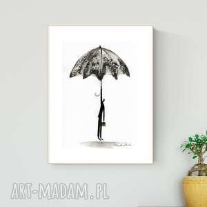grafika a4 malowana ręcznie, minimalizm, abstrakcja czarno-biała - minimalizm