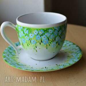 filiżanka ceramiczna ręcznie malowana niezapominajki, filiżanka, ceramika