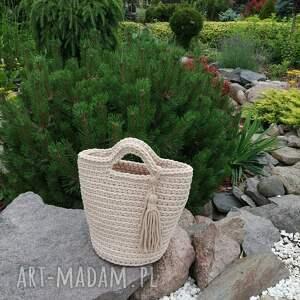 torba szydełkowa do ręki ze sznurka bawełnianego 23cmx30cm, torebka shopper