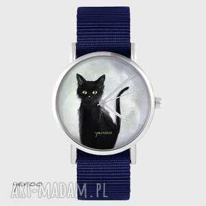 Zegarek yenoo - czarny kot granatowy, nato zegarki zegarek