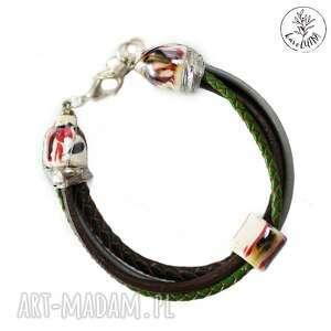 bransoletki karolutka tworzy - bransoletka rzemienie z ceramiką w brązach i zieleni
