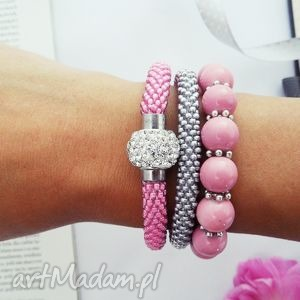 Pink Inspiration Set, bransoletki, zestaw, bransoletek, koralikowe, zkoralików