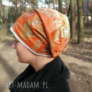 czapka damska nierozciągliwa pomarańczowa orientalna z połyskiem - czapka
