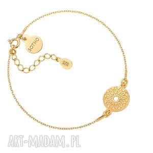 złota bransoletka z medalionem - złote bransoletki, okrągła