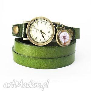 hand made bransoletka, zegarek - dmuchawiec oliwkowy, skórzany