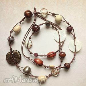 ivoire - długie korale - korale, naszyjnik, długi, drewno, ceramika, szkło