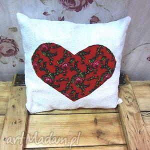 poszewka z sercem folk, serce, poszewka, roze
