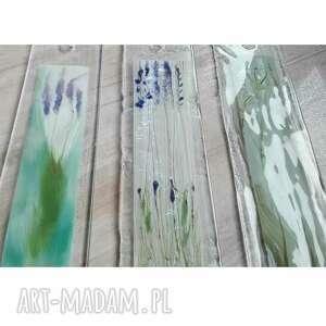 Szklane obrazki 3szt polne kwiatki, malowane ręcznie, technika