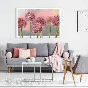 obraz do salonu drukowany na płótnie z kwiatami, różowe kwiaty czosnku 120x80cm