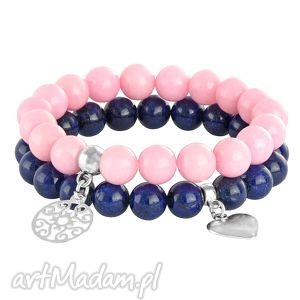 ręcznie robione bransoletki pink & navy blue