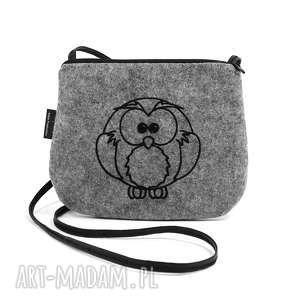 mini mała filcowa torebka z wyszytą sową, haftem, damska