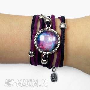 bransoletka nebula - fioletowe bransoletki, regulowana, rzemieniu galaxy