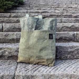hand-made na ramię torebka canvas khaki farbowana