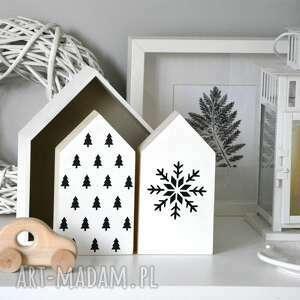 pod choinkę prezent, 2 domki zimowe, domek, domki, gwiazda, choinka, święta