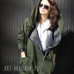 Khaki płaszcz oversize ogromny kaptur na jesień rozmiar