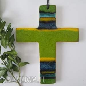 kolorowy krzyżyk - ,krzyż,ceramiczny,z-ceramiki,komunia,dewocjonalia,kolorowy,