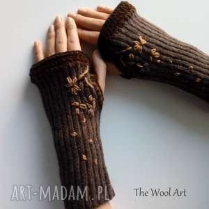 rękawiczki mitenki, rękawiczki, wełniane, kobiece, jesienne